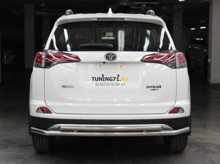 Защита заднего бампера радиусная двойная d-53+43 Toyota Rav-4 2015-наст.вр.